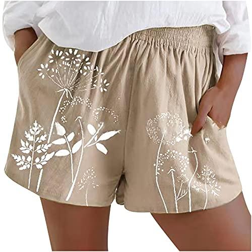 Semoatuc Pantalones cortos de algodón y lino para mujer con bolsillos, pernera ancha, sueltos, ligeros y ventilados, pantalones de playa informales beige S