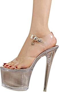 Transparent Platform Sandals Women,Ladies Peep Toe Perspex Block Heels,for Pole Dance Shoes Stiletto Heel Wedding Party Evening