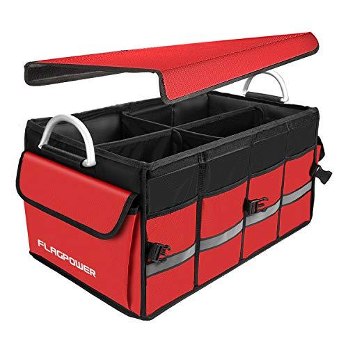 FLAGPOWER Auto Kofferraum Organizer mit Abnehmbarem Deckel, Zusammenklappbare Kofferraumtasche mit Großer Kapazität, Robuste rutschfeste Kofferraum Aufbewahrungstasche aus Aluminiumlegierung (Rot)
