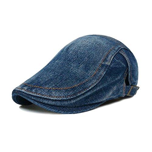 LETHMIK Denim Flat Cap newsboy IVY Irish Hats Jean Cabbie Scally Cap duckbill Hat Plain Dark Blue