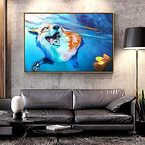 Póster de arte 40x60 cm animal sin marco lengua de zorro paisaje acuático abstracto moderno arte de la pared impresión del cartel imagen vida niños decoración de la pared del hogar