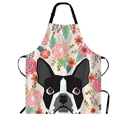Beabes French Bulldog Floral Kitchen Bib Aprons for Men Women Cartoon Pets Head Face Pink Flower Leaves Polyester Adjustable Apron for Outdoor BBQ 27' X 31' for Chef Waitress