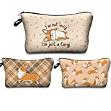 Makeup Bag Funny,Corgi Dogs Travel Small Cosmetic Bags Organizer for Women Multifunction Handbag Toiletry Storage Pouch Waterproof Purse,Set of 3