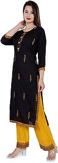 RIYA FABRIC Rayon salwar suit for women readymade Kurti with plazo set for women Kurti plazzo set in yellow colour for women kURTI