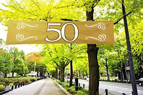 Banner 50 Bodas de Oro, poliéster, Aprox. 40 x 180 cm.