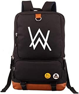 "Unisex Alan Walker Series Multifunctional Laptop Travel Canvas Backpack School Student Bookbag,Fits UNDER 17"" Laptop & Notebook for Women,Men,Girls and Boys,Black-b051"