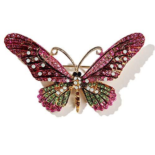 YAZILIND Moda Insecto Color Rhinestone Mariposa Collar Broche Alfiler Mujeres Ramillete Alfileres Fiesta joyería Regalo Rosa Rojo