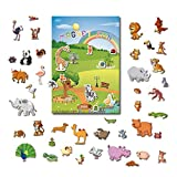 GrandLmoon Magnetic Portable Playboard Cute Zoo Ainimal Magnets Create Scene for Todder Kids Perfect Preschool Learning Travel Toy (51 Pcs )