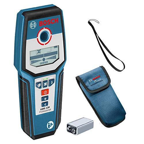 Bosch Professional Detector de pared GMS 120 (detección máx. en madera/metal magnético/metal no magnético/cables con tensión: 38/120/80/50 mm, en caja)