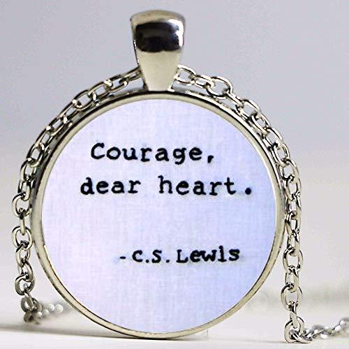Corage, Dear Heart, C.S Lewis, Narnia Cita Collar Colorido Moda Collar Mujeres Cristal Dome Taoísta Joyería