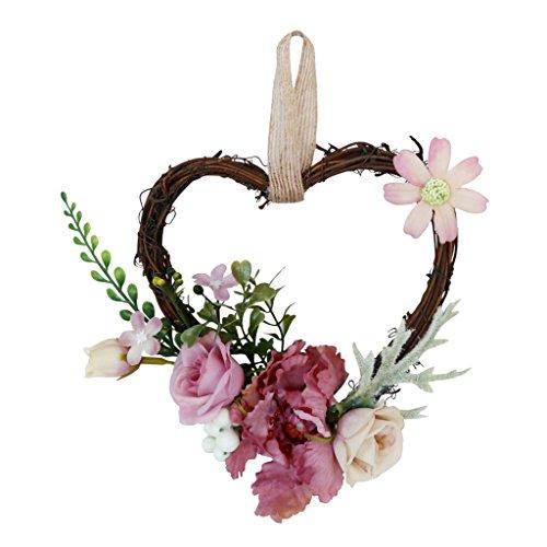B Blesiya Mimbre de Flores Artificiales Corazón para Puerta Delantra Adorno de Casamiento Rota Rústica - Rosa empolvado, 18 x 14 x 6 cm