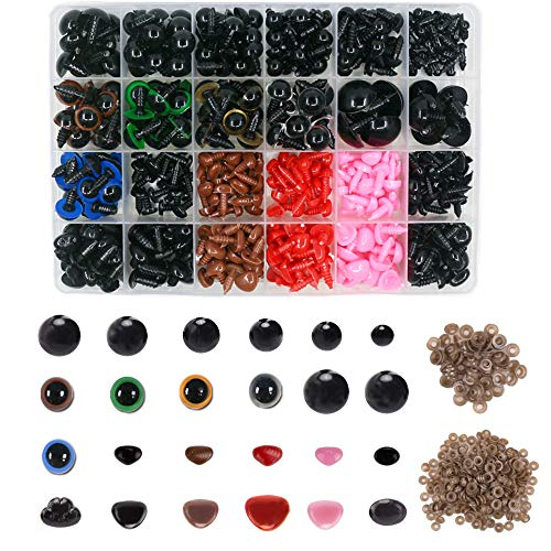 Aweisile Ojos de Seguridad Plástico y Narices de Seguridad de Plástico 838 Piezas Ojos de Muñeca de Plástico Con Arandela para Muñecas Hechas a Mano Peluches y Manualidades