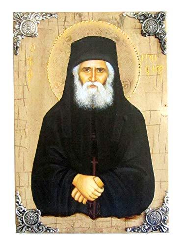 Icône en Bois Grec chrétien orthodoxe de Saint Paisios / P16