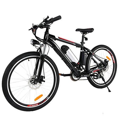 AIMADO Bicicletta Elettrica Mountain Bike 250 W 25-35 km/h Shimano 21 in Alluminio Batteria 36 V Luce Anteriore con 3 Livelli di Assistenza - Ruote 25 Pollici, Spina UE【EU STOCK】