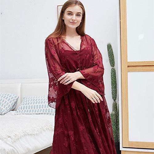 STJDM Nachthemd,Spitze langes Nachthemd weiß romantische Nachtwäsche Herbst Sommer Nacht Kleid Frauen Vintage Schlaf Home Wear Kleid OneSize rot