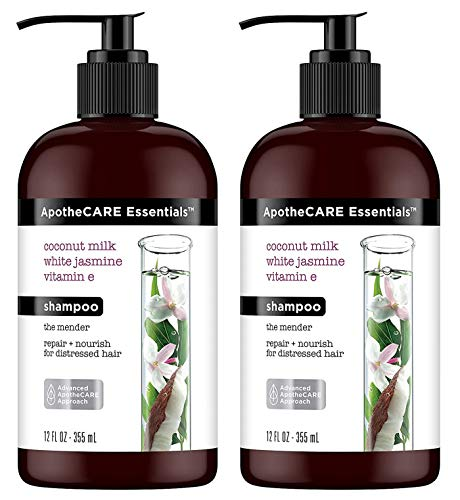 Price comparison product image ApotheCARE Essentials Shampoo - The Mender - Coconut Milk,  White Jasmine,  Vitamin E - Net Wt. 12 FL OZ (355 mL) Per Bottle - Pack of 2 Bottles