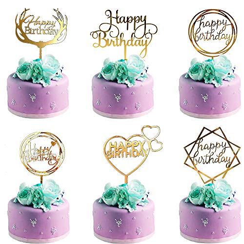 Happy Birthday Cake Topper,6 Piezas Decoración para Tarta,Happy Birthday Topper Decoración para Varios Pastel de Cumpleaños Boda(Oro)