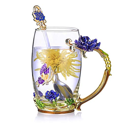 Tea Cup Glass Coffee Mugs Enamel Rose Flower Butterfly Drinking Cups with Spoon Set Unique Gifts for Birthday Wedding Christmas Blue Rose Tall Mug 12oz
