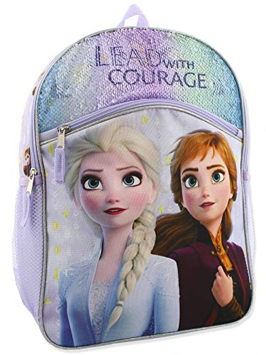 Frozen 2 Elsa Anna Girls Kid 16 inch Flip Sequin School Backpack (One Size, Purple)