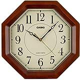 CASIO(カシオ) 掛け時計 電波 ブラウン 直径29.5cm アナログ 八角 木枠 掛け具セット IQ-1106J