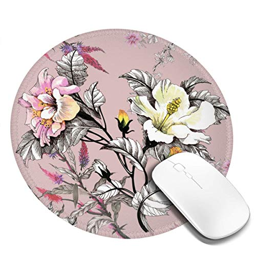 Round Mouse Mat Rubber Base Mousepad Non-Slip for Desktops Computer PC and Laptops Watercolor with Leaves and Colorful Flowers On Pink Background Customized