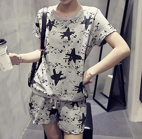 JFCDB Nachthemd Zomer dames pyjama met korte mouwen Koreaanse meisjes gebreide katoenen casual losse schattige pyjama tweedelig, alsfoto2, XXL