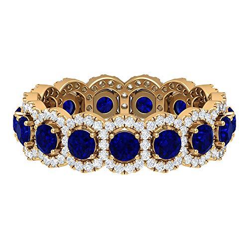 Anello eternity vintage, 2,2 ct 3 mm con zaffiro diffuso, anello Hi-SI 0,82 ct diamante Halo, fede nuziale, anello promessa, anello portafortuna, 18K Giallo oro, Size:EU 52