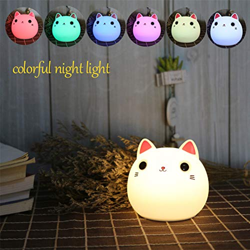 LMCXWD Tocco Cat LED Night Light Gift van siliconen dier nachtkastje tafellamp decoratie voor woonkamer slaapkamer