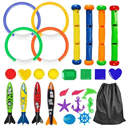 YHmall 28 Stück Tauchspielzeug tauchringe Set, Unterwasser-Tauchen-Spielzeugset, Schwimmtraining tauchringe Spielzeug für Kinder