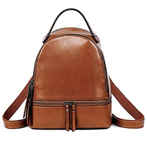 Leather backpack women travel backpack school backpack men and women waxed leather backpack-Brown