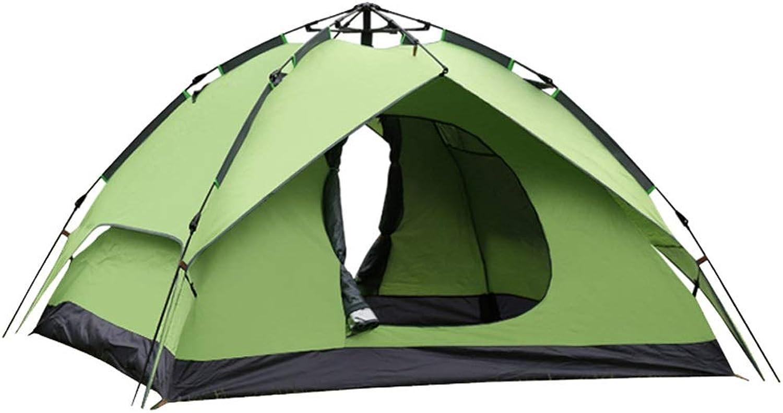 Wangwen Outdoor-Zelt Camping Ausrüstung 3-4 Personen Dual-Use-Oxford Tuch Regen Camping Holiday Festival Army Grün