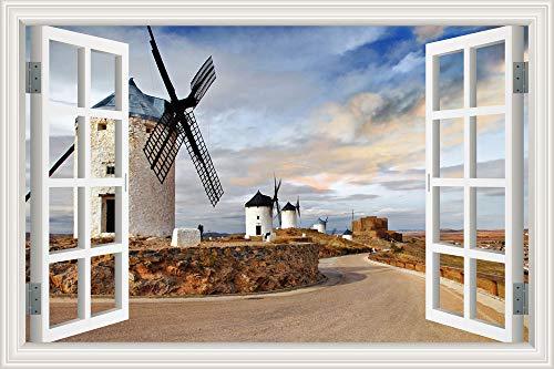 Wandaufkleber Niederländische Windmühlen Windturbinen Landschaft schöne Landschaft PVC Fenster Poster Tapete Aufkleber Kunst Wandbild Kinderzimmer Schlafzimmer Hauptdekoration