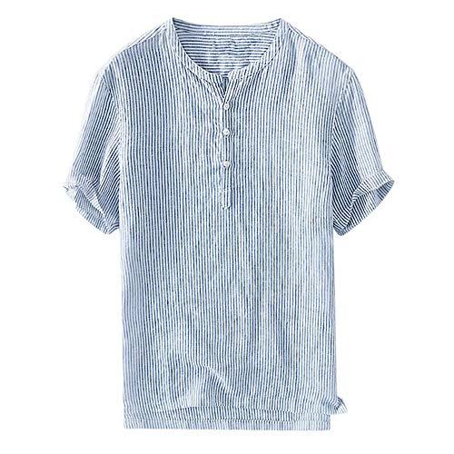 Beonzale Sommer Herren Cool Thin Breathable Stripe Button Baumwollhemd Kurzarm Hole Button Kurzarm T-Shirt Top Bluse