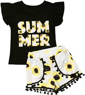 Toddler Baby Girl Fringe Outfits Black Vest Top + Floral Shorts + Pink Headband 3Pcs Summer Clothes Set