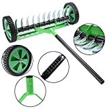 Rolling Lawn Aerator Vertical Cut Lawn Turf Dethatcher Thatching Rake Head Garde Electric Scarifier + Lawn Collection Green (221, Green)