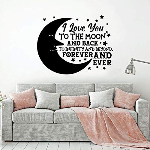I Love You To The Moon And Back To Infinity And Beyond Forever And Ever - Moon And Stars Vinyl Wall Art Wall Decal Wall Sticker For Home Design Nursery Bedroom Office Décoration Size (30x30 inch)
