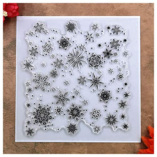 Kwan Crafts Christmas Snowflake Background Clear Stamps for Card Making Decoration and DIY Scrapbooking