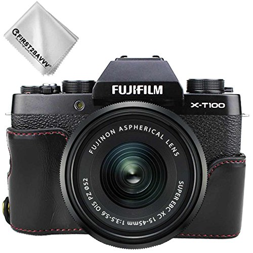First2savvv Schwarz Gehäusehälfte Präzise Passform PU-Leder Kameratasche Fall Tasche Cover für Fuji Fujifilm X-T100 XT100 - XJD-XT100-D01G11