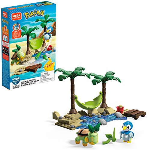 Mega Construx Pokémon Figuras Piplup Vs. Turtwig, juguetes niños + 6 años (Mattel GCN13)