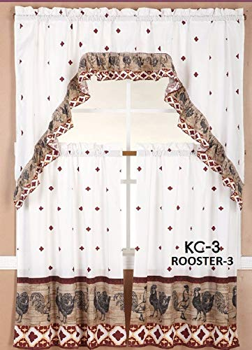 Diamond Home Linen 3PC Kitchen Curtain Set, 2 Tiers (30' X 36' Each Tier) & 1 Swag Valance (60' X 36') (Rooster - 3)