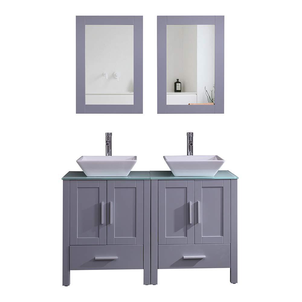 Amazon Com Goodyo Modern Gray Bathroom Vanity Cabinet Combo Double Sink Vanity 48 Inch Kitchen Dining