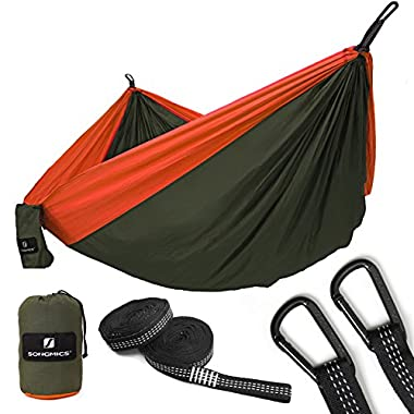 SONGMICS Ultra-Lightweight & Portable Hammock Hold up to 660LB Single & Double Parachute Nylon Camping Hammock Swing Bed 118'' x 78 Outdoor Backpacking, Hiking, Yard, Traveling UGDC20AO