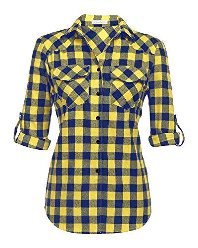Genhoo Women's Roll Up Long Sleeve Tartan Plaid Collared Button Down Boyfriend Casual Flannel Shirt Top (Yellow,L)