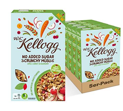 W.K KELLOGG Crunchy Müsli Apple, Carrot & Raspberry ohne Zuckerzusatz, vegan & palmölfrei, 5er Pack (5 x 380g)