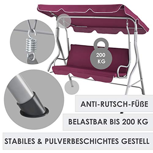 ArtLife Hollywoodschaukel 3-Sitzer mit Dach & Sitzauflage – Gartenschaukel 200 kg belastbar – Schaukelbank für Garten & Terrasse – rot - 6