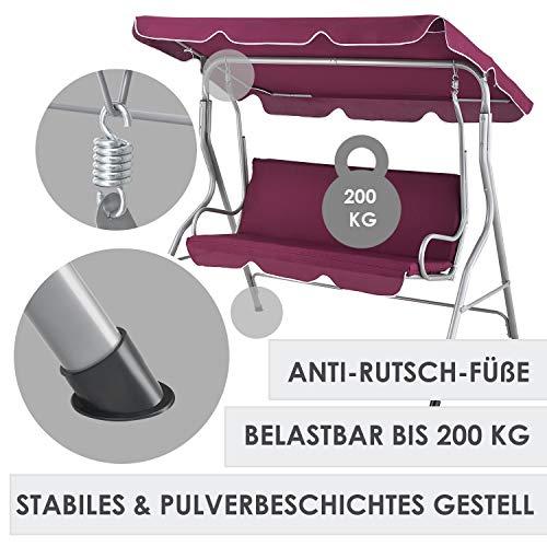 ArtLife Hollywoodschaukel 3-Sitzer mit Dach & Sitzauflage – Gartenschaukel 200 kg belastbar – Schaukelbank für Garten & Terrasse - rot - 2