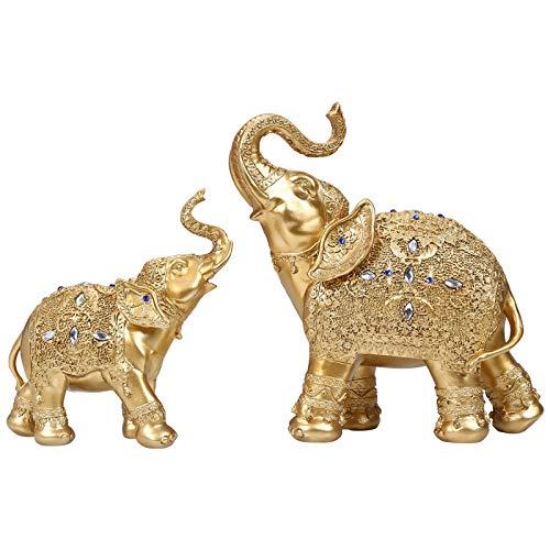 ZSQZJJ Decoración del hogar Adornos Estatuas Escultura,Un par de Estatua de Elefante Europeo Decoración Lucky Feng Shui Elephant TV Cabinet Decor