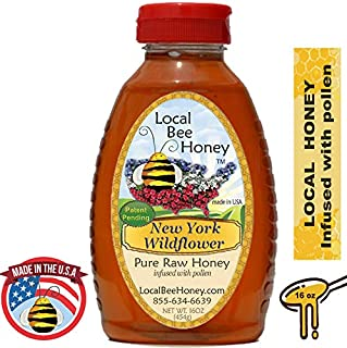 Local Bee Honey - Pure Raw Unfiltered Local New York Wildflower Honey 16oz (Infused with Pollen)
