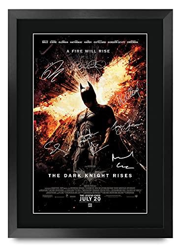 HWC Trading The Dark Knight Rises Batman A3 Encadré Signé Image Autographe Imprimé Impression Photo Cadeau D'Affichage pour Les Amateurs De Cinéma