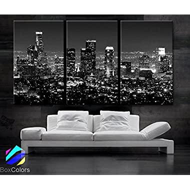 Large 30 x 60  3 Panels 30 x20  Ea Art Canvas Print Beautiful Los Angeles Ca Skyline Black & White Wall Home (Included Framed 1.5  Depth)